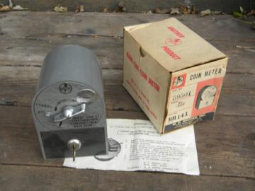 Vintage Mark Time industrial coin-op meter MH Rhodes original box and key