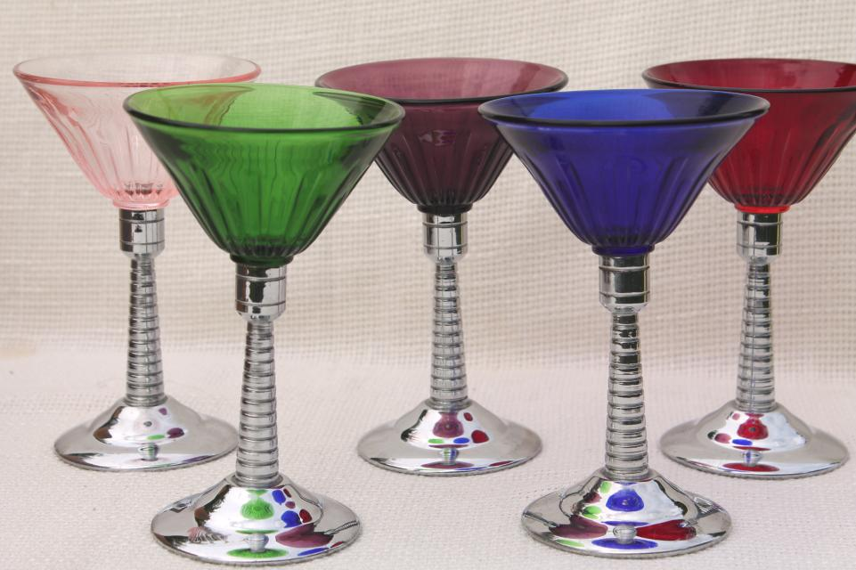 Vintage Martini Glasses Colored Glass Amp Chrome Cocktail