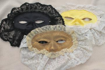 Vintage masquerade masks, lace trimmed ladies mardi gras costume ball masks