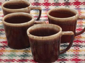 Vintage McCoy pottery coffee mugs set, brown drip glaze stoneware cups