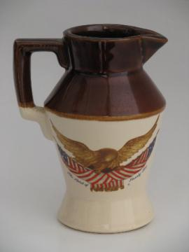 Vintage McCoy pottery Spirit of '76 federal eagle pattern pitcher