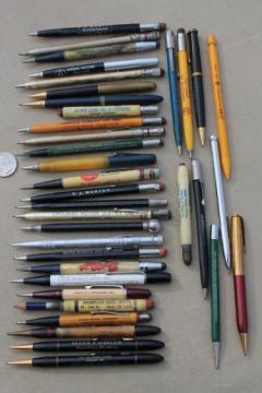 Vintage mechanical pencils, lot of vintage advertising pencils, Empire Oil Co, Du Pont