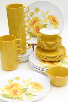 vintage melmac dinnerware set, gold sunflower print melamine plastic dishes