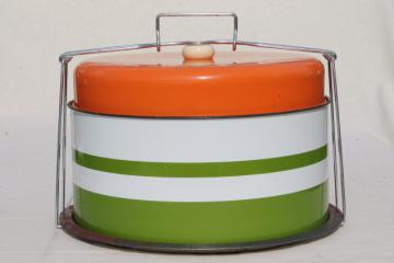 vintage metal cake saver, retro orange and green cake & pie keeper plate & cover