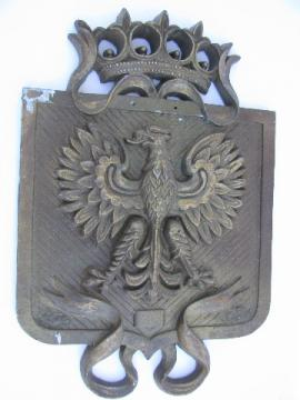 Vintage metal coat-of-arms heraldry w/medieval german eagle