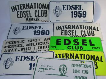 Vintage metal collector's car sign lot, old Edsel auto advertising signs