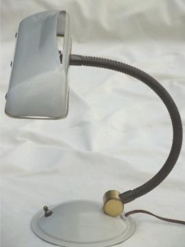 Vintage metal desk light w/ metal lampshade, mid-century modern gooseneck lamp