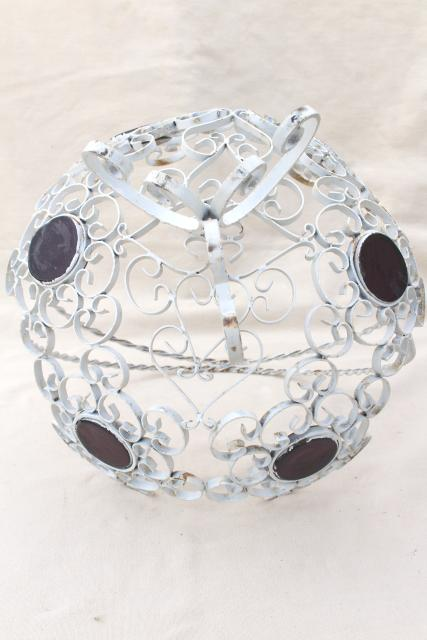 vintage metal filigree basket, white painted wrought iron w/ amethyst glass coin dots