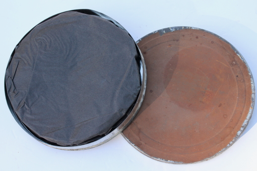 Vintage metal film canister, large 35mm bulk film tin w/film for altered art
