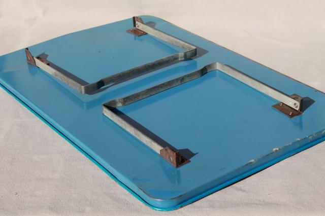 vintage metal game board lap tray w/ travel games, folding stand tray for sick day meal & play