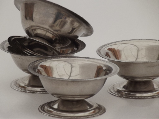 Vintage metal ice cream bowls, set of small stainless dessert dishes