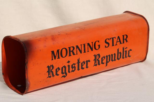 vintage metal newspaper delivery box orange & black paint, Morning Star Register Republic