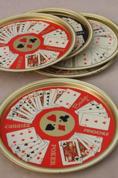 vintage metal serving trays, card party playing cards print, bridge, poker, canasta