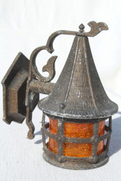 vintage metal wall sconce porch light, haunted gothic witch cottage decor