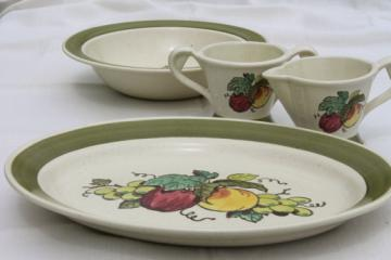 Vintage Metlox provincial fruit pattern green band cream & sugar, platter, serving bowl