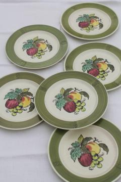 Vintage Metlox provincial fruit pattern green band dinner plates