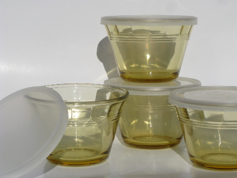 Vintage Mexico amber gold glass baking dishes, 8 individual custard cups