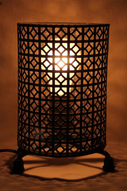 vintage mid century modern metal mesh canister lamp mood light minimalist mod decor
