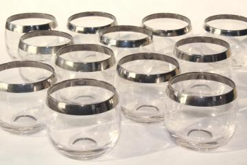 vintage mid-century mod roly poly glasses, Dorothy Thorpe silver platinum band tumblers