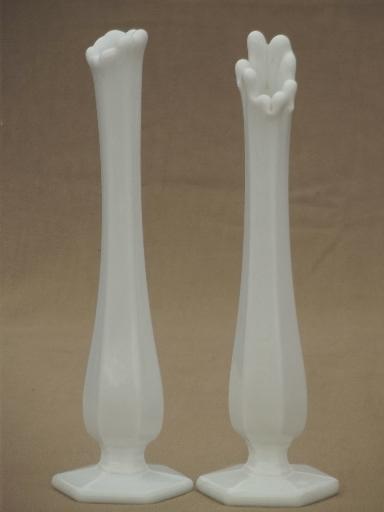 Vintage Milk Glass Bud Vases Swung Shape Paneled Milk Glass Vase Lot