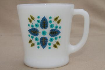 vintage milk glass coffee mug, Swiss Chalet trees & flowers, Anchor Hocking Fire King