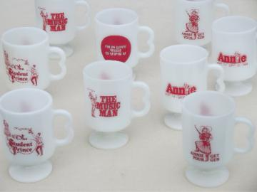 Vintage milk glass mugs from 80s Fireside dinner theater shows