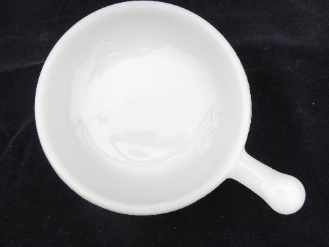 Vintage Milk White Oven Proof Glass Handled Soup Bowls Onion Soups