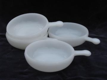 Vintage milk white oven proof glass handled soup bowls, onion soups