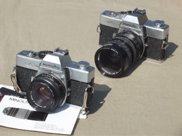 Vintage Minolta 35mm SLR cameras, Minolta SRT 101 & SRT MCII Soligor lens