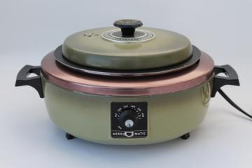Vintage Mirro-Matic electric casserole pan, retro green electric cooker / skillet