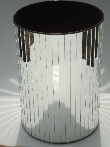 Vintage Mirrored Boudoir Wastebasket Hollywood Regency