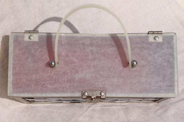 vintage mirrored chrome plated metal basket box bag purse w/ lucite handle