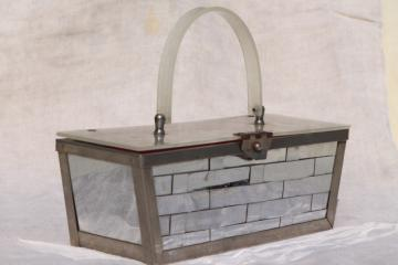 vintage mirrored chrome plated metal basket box bag purse w/ lucite handle