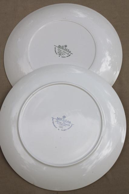 vintage mismatched china platters or cake plates, 60s 70s Mikasa w/ retro flowers