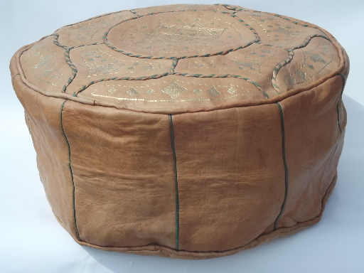 Vintage Moroccan Gilt Leather Pouf Ottoman Cover For Floor