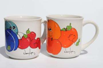 Vintage Nancy Lynn coffee mugs, retro ceramic cups w/ smiling happy fruit