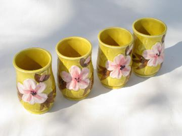 Vintage Napcoware - Japan, set of china tumblers w/ pink cherry blossoms