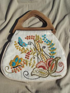 Vintage needlework bag, handbag purse w/ crewel work embroidery wool on linen