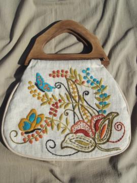 Vintage needlework bag, handbag purse w/ crewel work embroidery wool on linen