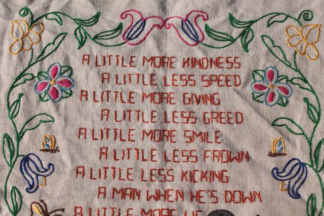 vintage needlework sampler motto quote embroidery on linen, A Little More Kindness