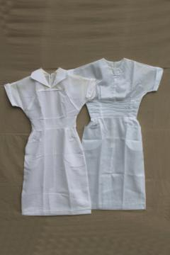 Vintage nurse uniforms, retro 60s white poly nurse dresses w/ slim skirts