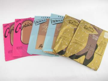 Vintage nylon stockings lot, 6 pr in original pkgs, 60s retro!