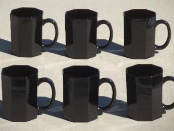 Vintage Octime Arcoroc ebony black glass mugs, set of 6 coffee cups