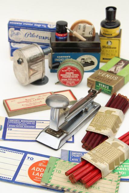 Vintage Office Supplies / School Desk Junk Drawer Lot, Old Packaging U0026  Labels