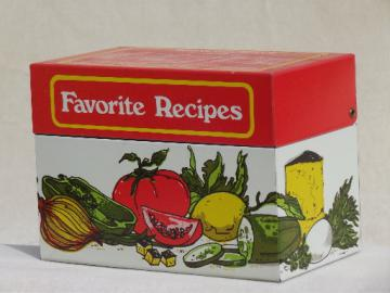 Vintage Ohio Art recipes  box, metal litho print tin for recipe cards