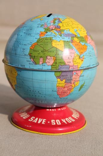 Vintage Ohio Art tin toy world globe bank, metal litho print coin
