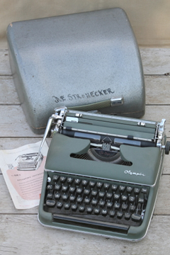 Vintage Olympia SM3 DeLuxe typewriter w/ case, 1940s mid century industrial typewriter Germany Western Zone