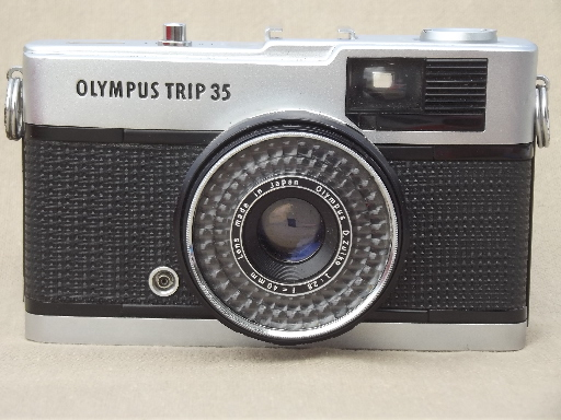 Vintage Olympus camera, early 70s Olympus Trip 35 35mm camera w/ manual