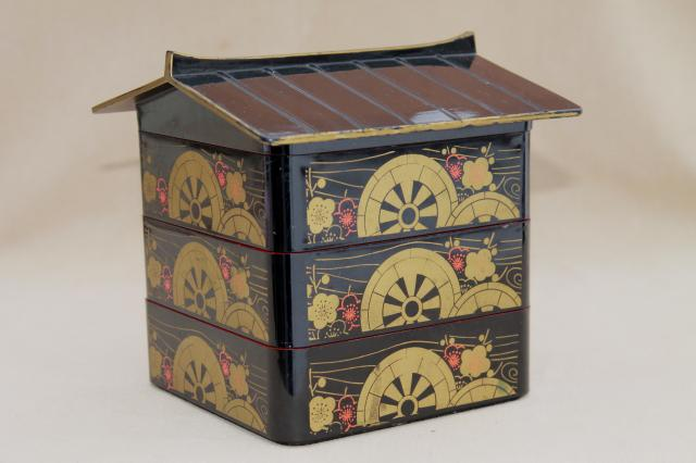 vintage oriental lacquer ware tea caddy or jewelry box, canister house of stacking boxes