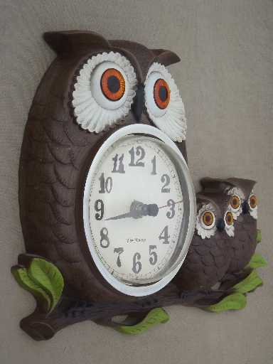 Vintage Owl Family Wall Clock New Haven Clock W Burwood